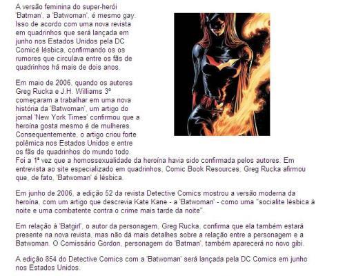 Novo gibi mostra que 'Batwoman' é lésbica